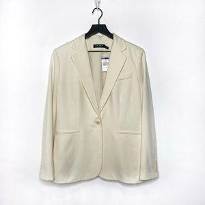 Lauren Ralph Lauren Single Breasted Single Button Ivory Blazer Size 10